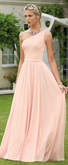 Chiffon de um ombro decote a linha vestidos de dama de honra com cinto - Випускні плаття - Vestido de Festa Bridal Dresses Online, Bridal Party Dresses, Bridal Gowns, Bridesmaid Dresses, Prom Dresses, Formal Dresses, Wedding Dresses, Chiffon Dresses, Bridesmaids