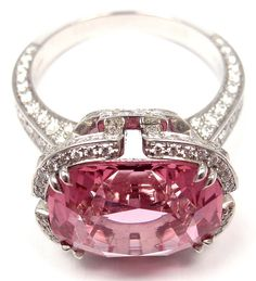 TIFFANY & CO. Diamond Platinum Pink Spinel 'Blue Book' Ring image 3
