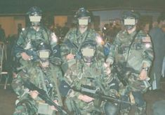 1st Special Forces Operational Detachment Delta (Delta Force) Equipment: -Woodland BDU with full color US Flag Patch -Black Pro-Tec Helmet with goggles -Black PT Body Armor with US Flag Patch on the front -Dual sets of Knee Pads -Jungle Boots