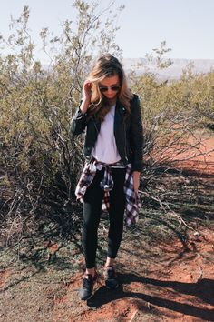 White tee, flannel with leather jacket and sneakers