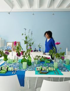 Tricia Guild, Small Dining Area, Evergreen Forest, Steel Columns, Summer Sky, Designers Guild, Open Plan Living, Shades Of Blue, A Table