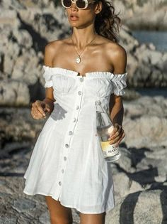 White Off Shoulder Puff Sleeves Button Mini Dress – Stylnbo White Boho Dress, Boho Mini Dress, Mini Dress With Sleeves, White Mini Dress, White Off Shoulder Dress, Off Shoulder Dresses, Backless Maxi Dresses, White Maxi Dresses, Mini Dresses