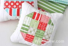 These adorable little Christmas ornament pincushions are a great gift for any sewing friend! Gather up a few favorite holiday fabrics and you can whip up a few in no time. Happy Holidays!