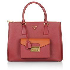 Prada Handtasche: die Shopping Saffiano Lux Fuoco e Papaya - ein Highlight im Office & der Hingucker in der City