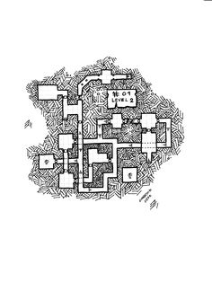 map #01, is a 3 level dungeon, level 2 Game master Black and White version, dungeon rpg keep map, by unknown user