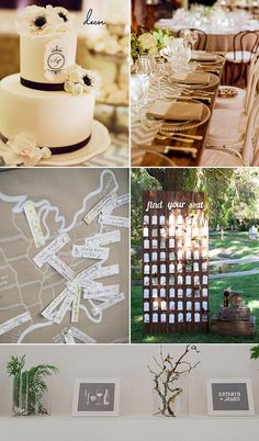 Wedding Decor  Elegant cake and table settings: Snippet & Ink  Map guestbook: Harwell Photography Blog  Escort Card Display: SMP  Illustrated Signs: Rock N' Roll Bride