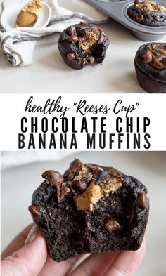 Chocolate chip muffins to the rescue — you've gotta try these no added sugar Healthy Chocolate Chip Banana Muffins. These easy Coconut Flour Banana Muffins are gluten free! Plus coconut flour recipes for keto, vegan, paleo, and mini muffins too! Healthy Dessert Recipes, Healthy Sweets, Healthy Baking, Recipes With Bananas Healthy, Paleo Muffin Recipes, Eggless Desserts, Diabetic Snacks, Healthy Food, Vegan Recipes
