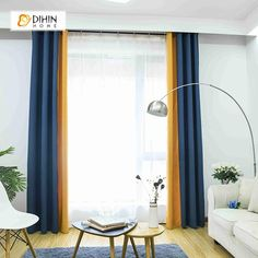 DIHIN HOME Blue and Yellow Printed,Blackout Grommet Window Curtain for Living Room ,52x63-inch,1 Panel