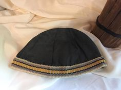 Viking, Norse, Anglo Saxon, grey linen, with grey, beige, yellow inkle loom weaving trim