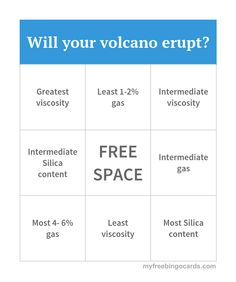 Will your volcano erupt? Bingo