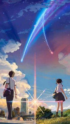 Anime Backgrounds Wallpapers, Anime Scenery Wallpaper, Cute Anime Wallpaper, Animes Wallpapers, Movie Wallpapers, Trendy Wallpaper, Iphone Wallpapers, Mitsuha And Taki, Kimi No Na Wa Wallpaper