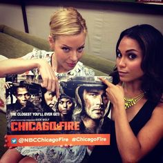 The beautiful ladies, Lauren German and Monica Raymund posing with the poster of the TV Show they are in, Chicago Fire. Chicago Med, Chicago Fire, Monica Raymund, Sister Wives, Lauren German, Join Instagram, Chicago Shows, Female Fighter, Press Tour