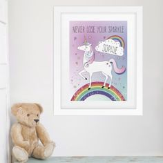 What better way to decorate a room than with a touch of unicorn magic?  This Unicorn Poster Frame can be personalised with a message up to 25 characters and a name up to 12 characters. Please note that all text will appear in upper case.   To finish this stylish piece of art, each piece is mounted and framed in a large white frame.  Dimensions: 33cm x 40.5cm x 1.5cm