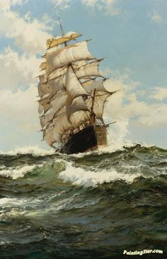 The Oberon Artwork by Montague Dawson Hand-painted and Art Prints on canvas for sale,you can custom the size and frame