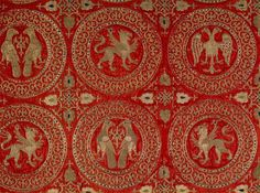 """""""sciamito"""", a medieval fabric of particular structure suitable for lavish embroidery. Produced originally in the geographic area of the Middle East (Syria, Iran, Byzantium) has spread later in the Mediterranean areas subject to Islam. This particular item, embroidered with a technique """"opus ciprense"""" (I would translate it as """"in the Cyprus way"""") was probably made a Palermo."""