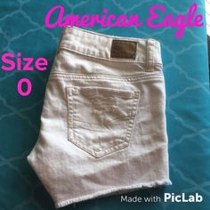 American Eagle White Denim Distressed Cutoffs Sz 0 Inseam is 3 inches. American Eagle Outfitters Shorts Jean Shorts