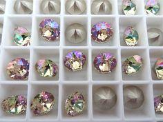 6 Luminous Green Foiled Swarovski Crystal Chaton by BeadwareIL-$2.85,12-$5.40,15-$6.75,24-$10.50