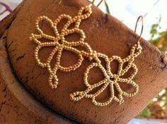 18 K plated brass earhangers  flower earrings by RavitAshkenazi, $65.00