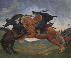 """""""How Russia Outfoxes Its Enemies"""" by Lucy Ash (Source: BBC) IMAGE: Single combat of Peresvet and Temir-murza on the Kulikovo Field in 1380. Artist: Jacobi, Mavriki Petrovich (1906-1938) Vladimir The Great, Vikings, Christianity, Russia, History, Artist, Painting, Fictional Characters, Enemies"""