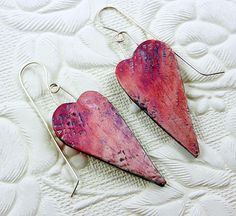 Heart earrings - Polymer clay, acrylic paint, silver handmade earwires by Christine Damm, Stories They Tell