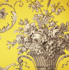 Biltmore Toile Wallpaper from Thibaut Toile Resource Collection Volume elegant toile de jouy wallpaper with urns and cherubs in charcoal on a yellow background Home Interior, Decor Interior Design, Toile Wallpaper, Wallpaper Ideas, Pattern Wallpaper, Tuile, French Fabric, Old Wall, French Decor