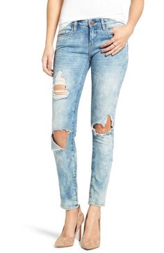 BLANKNYC 'Good Vibes' Distressed Skinny Jeans (Medium Wash Blue) available at #Nordstrom