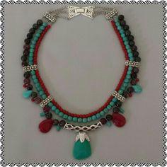 Doğal Taş kolye Bead Jewellery, Boho Jewelry, Pendant Jewelry, Beaded Jewelry, Jewelery, Jewelry Design, Unique Necklaces, Handmade Necklaces, Jewelry Necklaces