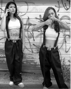 cropped chola - if a girl was dressed like this in high school you knew to cross the street and avoid eye contact...lol