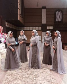 Image may contain: 5 people, people standing and wedding Hijab Prom Dress, Dress Brukat, Hijab Gown, Muslimah Wedding Dress, Hijab Evening Dress, Hijab Style Dress, Hijab Wedding Dresses, Batik Dress, Kebaya Modern Hijab
