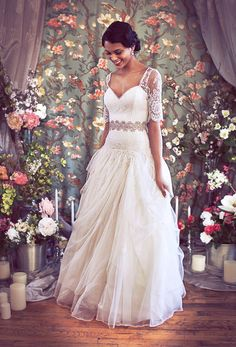 "Drop Waist Ballgown with Artfully Draped Tulle, Organza, and French Lace, Short Sleeve Sweetheart Lace bustier, ""Madeline-Hope"" by Schone"