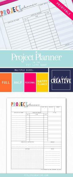 Printable Project planner.  Have a big project coming up? No problem with the printable Project Planner.  Use this planner to get your next project organized.
