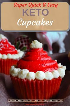 Special Christmas evening to bake with your keto kids and decorate the best ever Keto Cupcakses a la Santas Hat or Jolly Santa. Whole familly get together and enjoy your Keto evening. Fully Sugar-Free, Low Carb, Gluten-free healthy Cupcakes made with almond flour are the ones to go. Sugar Free Sweets, Low Carb Sweets, Sugar Free Recipes, Low Carb Desserts, Candy Recipes, Sweet Recipes, Baking Recipes, Keto Recipes, Healthy Dessert Recipes
