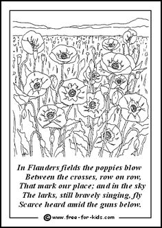 Free Printable Remembrance Colouring Sheets for Poppy Day on November Remembrance Day Activities, Veterans Day Activities, Remembrance Day Poppy, Poppy Coloring Page, Colouring, Coloring Sheets, Flanders Field Poppies, Poppy Craft For Kids, Festival Make Up