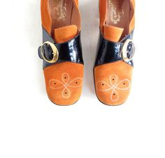 1960s mod orange suede and black patent buckle shoes, by The Villager