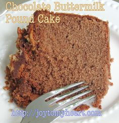 Chocolate Buttermilk Pound Cake is our favorite, especially if you're a chocolate lover. I made icing last night but it is perfect without. Trust me! Chocolate Buttermilk Pound Cake Recipe, Almond Pound Cakes, Pound Cake Recipes, Coconut Cakes, Buttermilk Recipes, Lemon Cakes, Vanilla Cake, Food Cakes, Cupcake Cakes