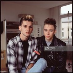 Depeche Mode in recording studio during the making of the Some Great Reward album, Berlin, July 1984, L-R Dave Gahan, Alan Wilder.