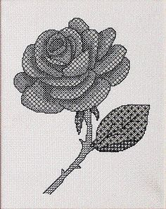Blackwork Rose Blackwork Kit by X-Calibre Designs