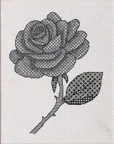 Blackwork Rose Blackwork Kit by X-Calibre Designs