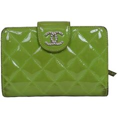Pre-owned  Chanel Enamel Enamel Green Silverhardware Bifold Wallet... ($430) ❤ liked on Polyvore featuring bags, wallets, accessories, green, crystal clear bags, clear bags, bifold wallet, pre owned bags and chanel wallet