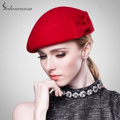 Sedancasesa Vintage Women Ladies Elegant Cloche Wool Hat Red Black Beret Cap High-end Airline Stewardess Hats Diva Fashion, Trendy Fashion, Fashion Hats, All About Fashion, Passion For Fashion, Pretty Outfits, Beautiful Outfits, Shirt Refashion, Minimalist Fashion