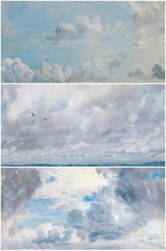 Constable's approach to clouds. Inspiration for Mary Gilkerson's AWL Community Cloud Challenge. We'll spend the month of August painting clouds & skies inspired by the great artists Constable & Turner. Landscape Art, Landscape Paintings, Painting & Drawing, Watercolor Paintings, Painting Clouds, Birds In The Sky, Sky And Clouds, Art Studies, Art Techniques