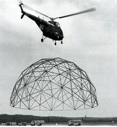 R. Buckminster Fuller U.S. Marine Corps transporting a 55-foot dome via helicopter 1954