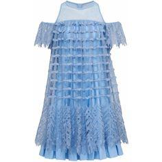 Bora Aksu - Bea Cold Shoulder Square Lace Short Blue Dress (23,405 MXN) ❤ liked on Polyvore featuring dresses, blue cold shoulder dress, see through dress, short cocktail dresses, pale blue dress and short dresses