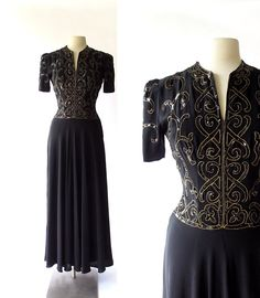 Vintage 1940s Dress / Vrilles Noir Dress / 40s Gown / 1940s Black Dress / Sequin Gown / Small S by SmallEarthVintage on Etsy https://www.etsy.com/listing/200727028/vintage-1940s-dress-vrilles-noir-dress
