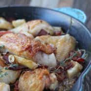 The Zenbelly Cookbook Sneak Peek: pan-roasted chicken with bacon and apples - I didn't use the white wine and used dry sage