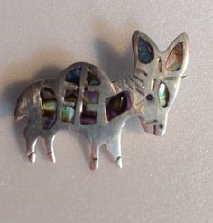 Melicio Rodriguez Sterling Silver Abalone Inlay Donkey Burro Modernist Pin Taxco #Handmade