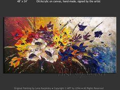 """Bouquet d'Amour"" - Original Flower Paintings by Lena Karpinsky, http://www.artbylena.com/original-painting/20911/bouquet-damour.html"