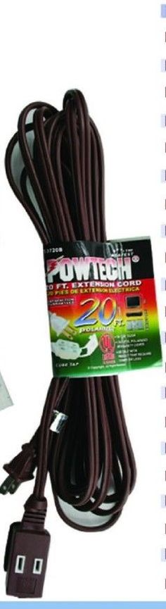 3 outlet 2 prong indoor wall power AC extension cord brown 20 ft UL listed #POWTECH