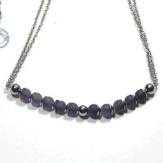 Items similar to Amethyst micro necklace with stainless steel beadcaps, spacers, chain & clasp on Etsy Handmade Jewelry, Unique Jewelry, Handmade Gifts, Easy Wear, Pearl Necklace, Amethyst, Stainless Steel, Pearls, Chain