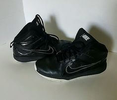 Boys Nike's Black Leather Sneakers Size 7Y